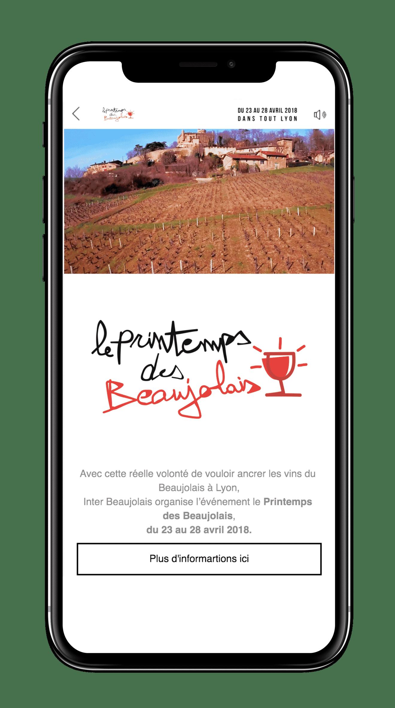 Expérience plein écran, canvas pour le Printemps des Beaujolais