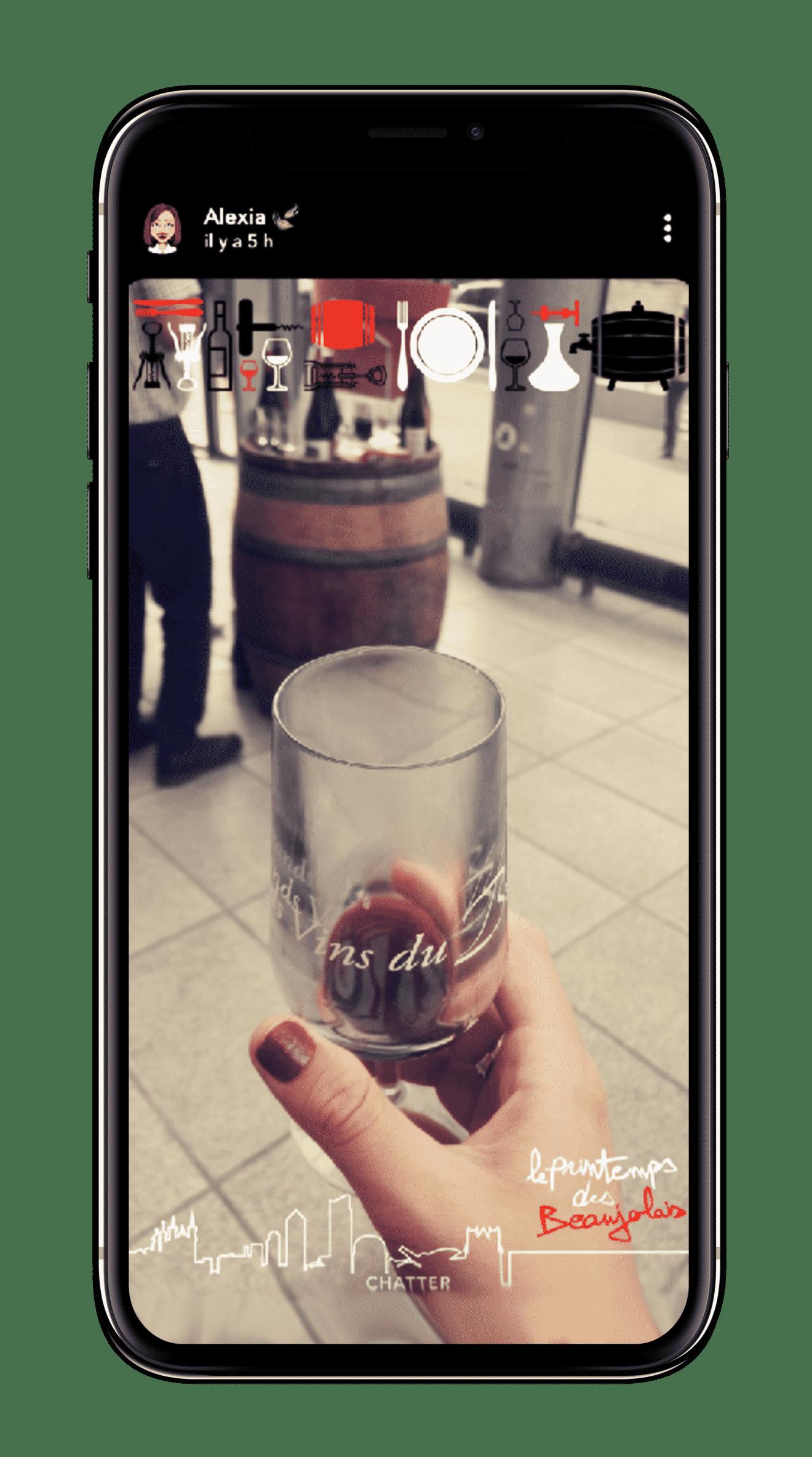 Filtre Snapchat géolocalisé et personnalité pour le Printemps des Beaujolais