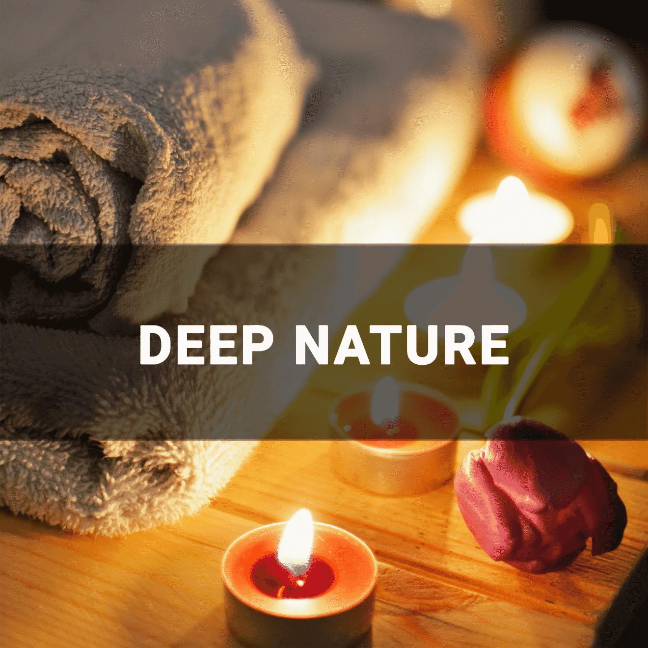 Serviettes, bougies et fleur qui représente l'intérieur d'un spa - Deep nature
